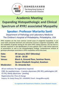 Event Flyer of Academic Meeting Expanding Histopathologic and Clinical Spectrum of RYR1 Associated Myopathy.