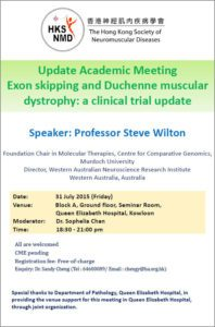 Event Flyer of Update Academic Meeting Exon Skipping and Duchenne Muscular Dystrophy: A Clinical Trial Update.