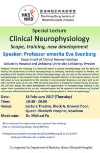 Event Flyer of Special Lecture Clinical Neurophysiology Scope, Training, New Development.