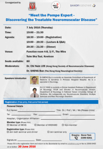 Event Flyer of Meet the Pompe Expert – Discovering the Treatable Neuromuscular Disease.