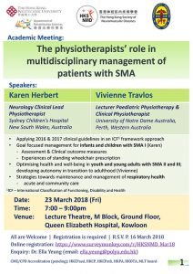 Event Flyer of The Physiotherapists' Role in Multidisciplinary Management of Patients with SMA.